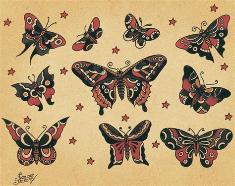 tattoo flash butterfly sailor jerry butterflies flickr photo sharing