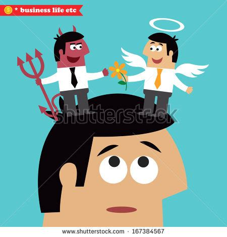 Business life moral choice business ethics and temptation concept