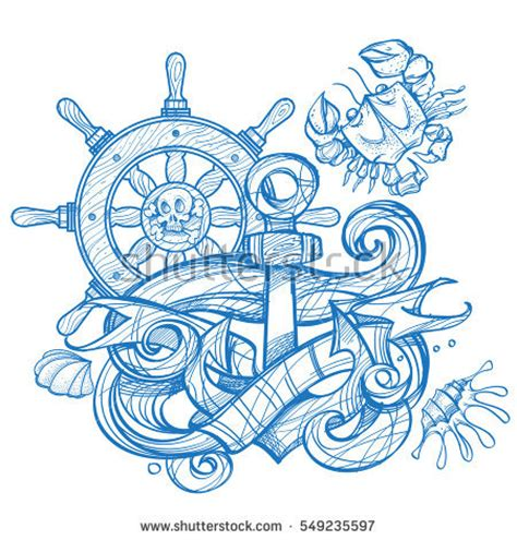 boat outline t shirts ships anchor steering wheel crab tattoo stock vector