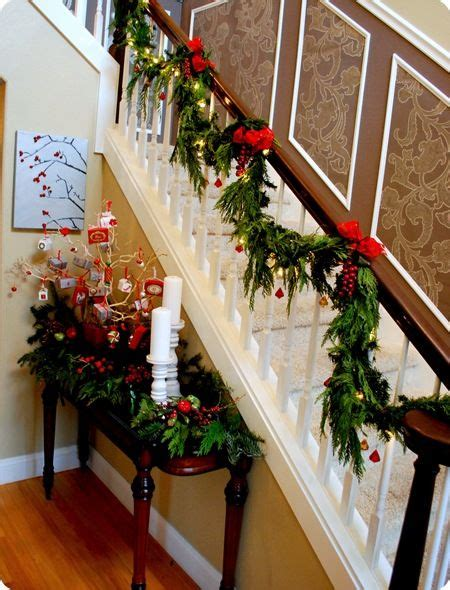 stair garland ideas i cedar i finally stairs this year going to do something like this