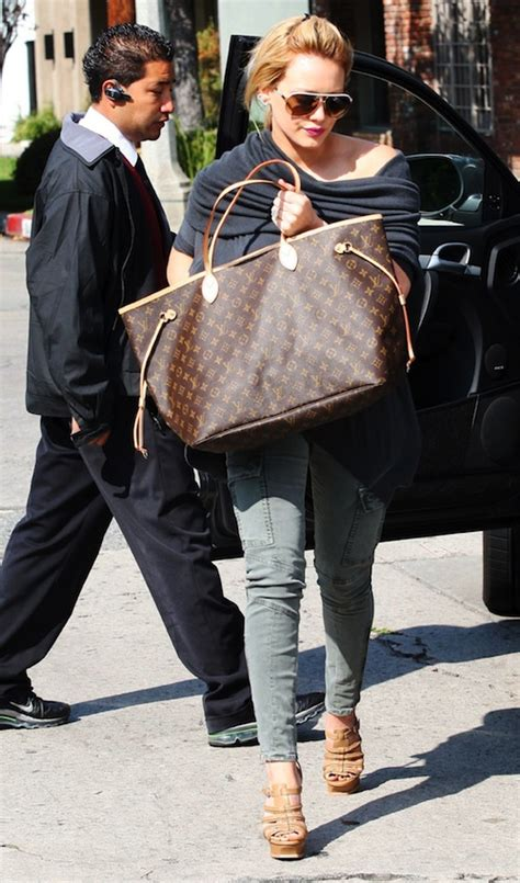Other Designers Hilary Duff With Designer Travel Bags by Louis Vuitton Neverfull Bags Cheap Sale