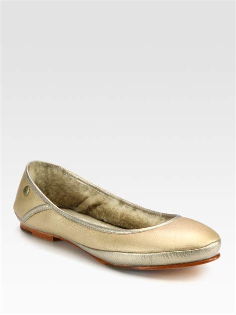 ugg flat shoes ugg two tone metallic leather and sheepskin ballet flats