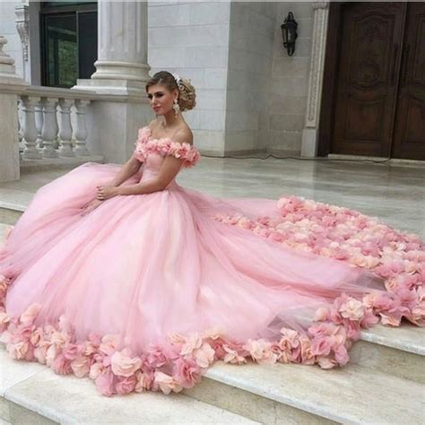 pink tulle flower gowns wedding dress the shoulder alinanova