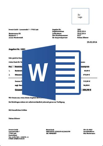 Word Vorlage Angebot Erstellen Muster Und Vorlagen F 252 R Angebote Mit Anleitung Kostenlos