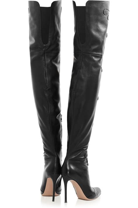 vintage black leather flower thigh high boots heels