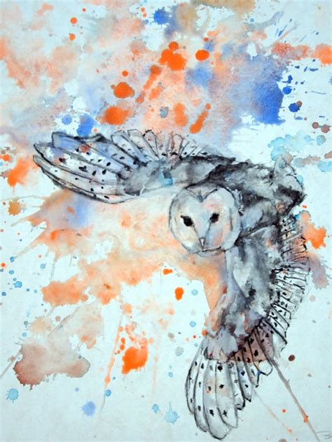 watercolor tattoos bristol flying barn owl by isabelle dillard skin