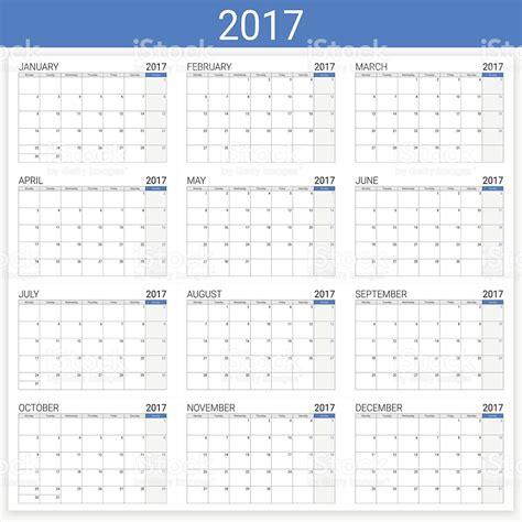 12 Month Calendar 2017 2017 Calendar 12 Month Set Stock Vector 596073722 Istock