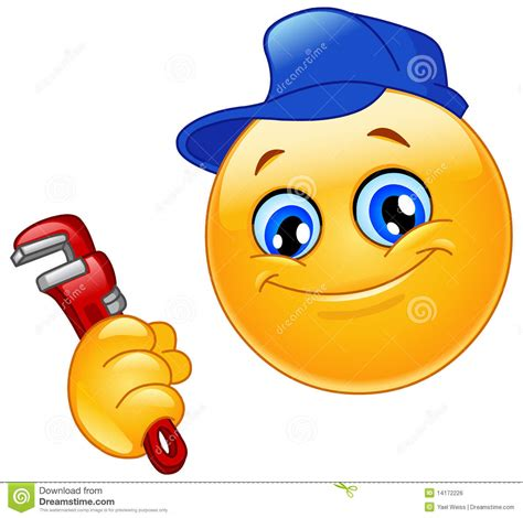cleaning emoji plumber emoticon stock vector image of hand icon