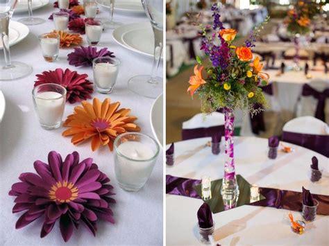 20 Orange And Purple Wedding Ideas Everafterguide Purple And Orange Centerpieces For Weddings