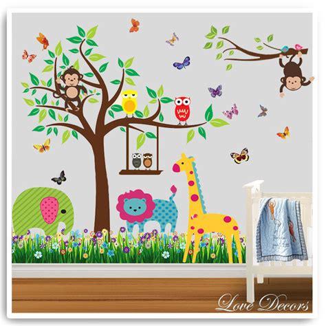 Animal Wall Decals For Nursery Owl Animal Wall Stickers Monkey Giraffe Jungle Zoo Tree Nursery Baby Room Decal Ebay