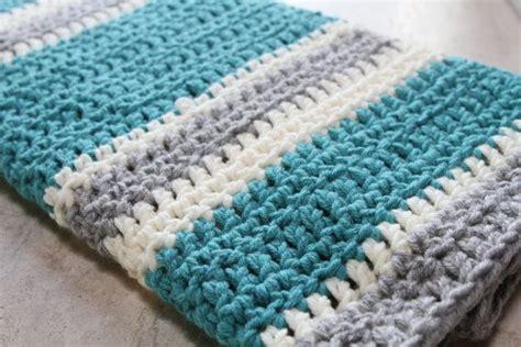 crochet comforter chunky striped modern crochet baby blanket cream aqua