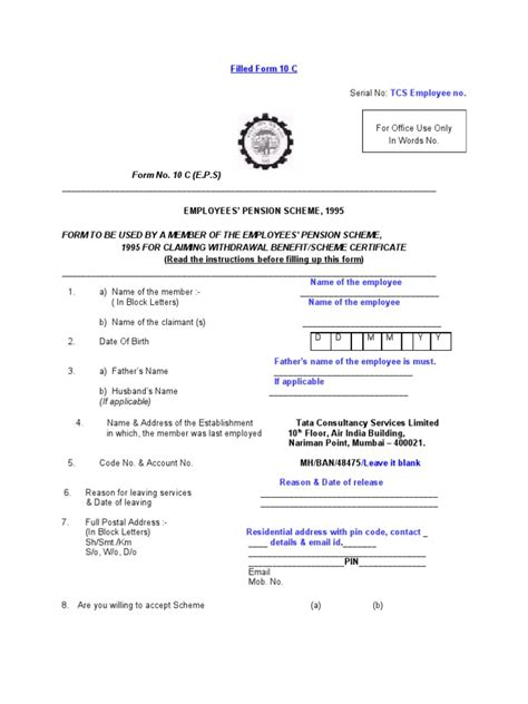 Pf Withdrawal Delay Letter Pf Withdrawal Form 10c Pdf