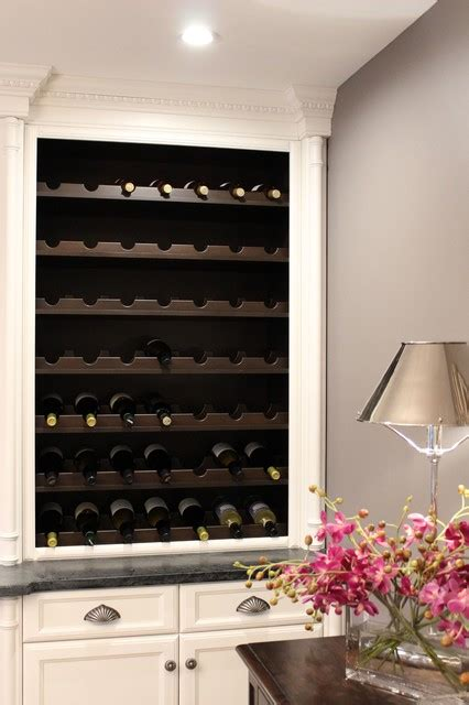 transitional custom white wine bar with built in wine rack