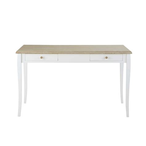 white wooden desks white wooden desk l 132 cm angelique maisons du monde