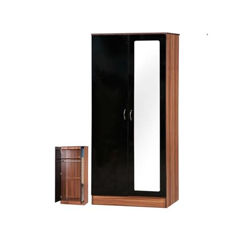 Black Gloss Mirror Wardrobe by Alpha Black Gloss Walnut 2 Door Mirrored Wardrobe Ark