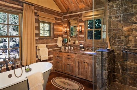 log cabin with bathroom and kitchen rustic log cabin bathroom decor bathroom decor ideas