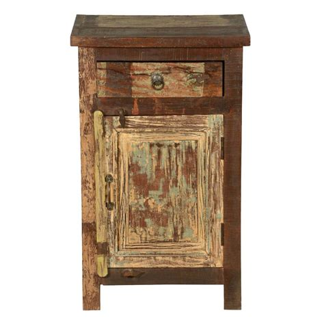 Distressed Wood Nightstand cleveland distressed reclaimed wood 1 drawer nightstand