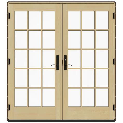 Brown Patio Doors Jeld Wen 72 In X 80 In W 4500 Brown Clad Wood Left 15 Lite Patio Door W Lacquered