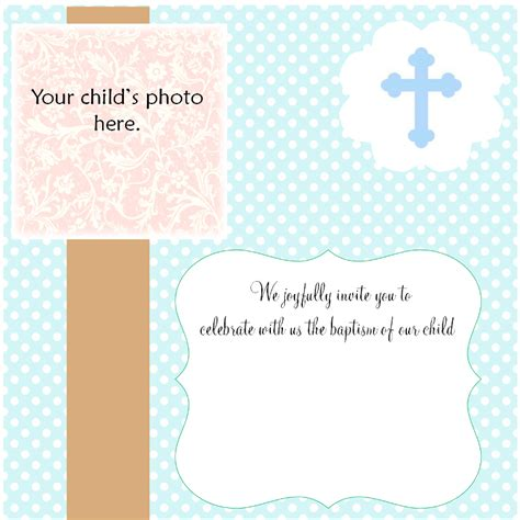 Free Christening Invitation Cards Baptism Card Template