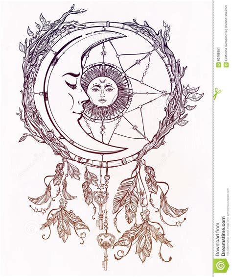 dream catcher adorned with sun and moon inside stock
