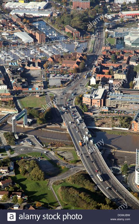 hull swing bridge aerial view of myton swing bridge over the river hull and