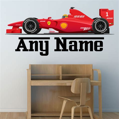 car wallpaper for bedroom personalised f1 race car wall sticker boys name bedroom