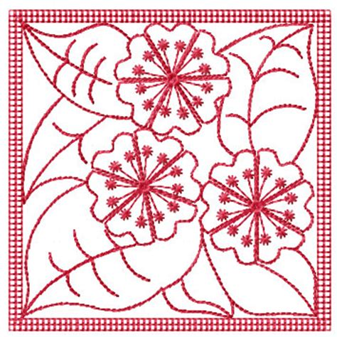 Quilt Block Embroidery Designs by Redwork Flowers Quilt Block Machine Embroidery Designs Ebay