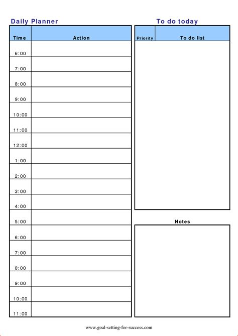 Daily Planner Template Cyberuse Weekly Planner Template Printable