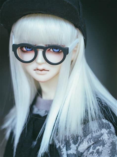 jointed doll white hair bjd white light brown blue hair wig
