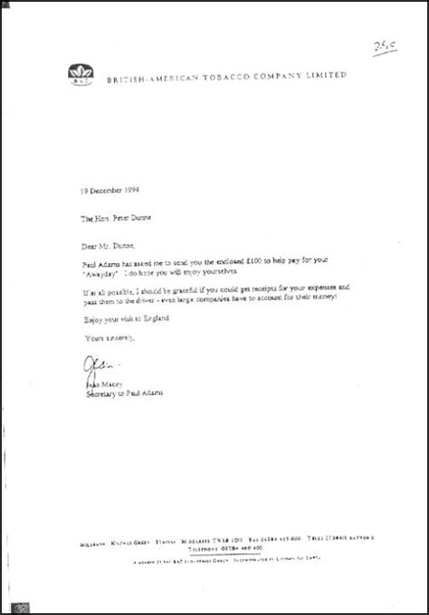 Explanation Letter Leave Dunne S Letter From American Tobacco Scoop News