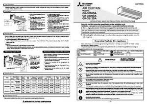 Mitsubishi Electric Cooling And Heating Manual Mitsubishi Gk 35 Gk Gk 3506sa Gk 3509sa Gk 3512sa Air