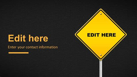 health and safety powerpoint templates caution road sign powerpoint template slidemodel