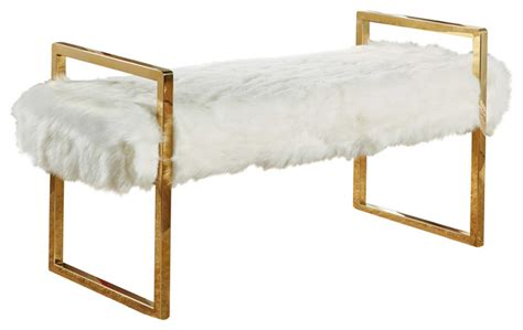 faux fur storage ottoman chloe faux fur bench white contemporary accent and