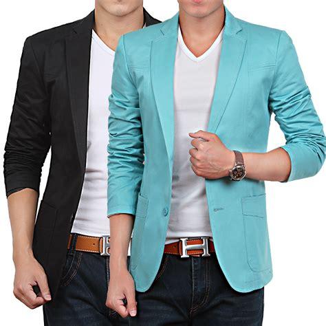 Blazer Jaket Sintetis Casual beige blue black khaki cheap suit mens casual blazers korean suit jacket slim fit