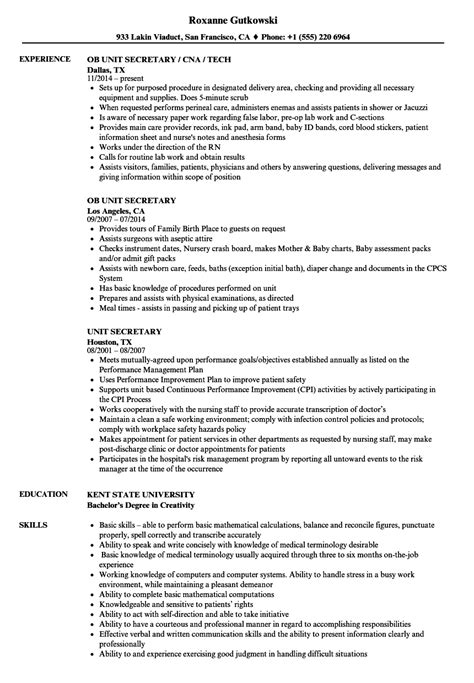 Unit Resume by Unit Resume Sles Velvet