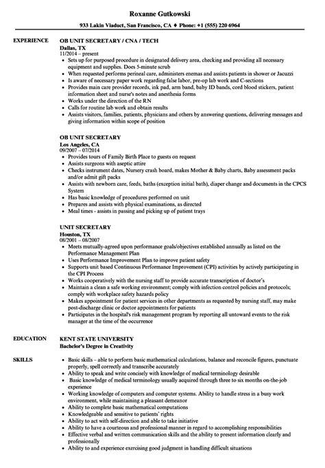 Sle Resumes For Unit Secretary | nursing unit clerk sle resume technical assistant cover