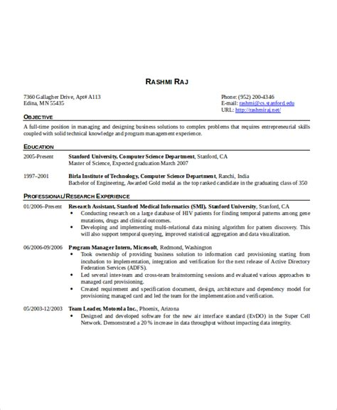 Resume Sles For Experienced Software Professionals resume objective for experienced software developer 28
