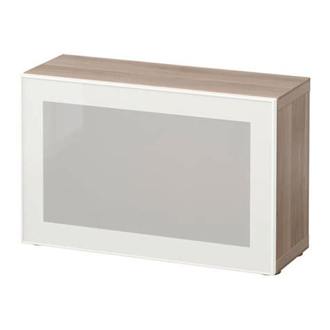 besta glassvik best 197 shelf unit with glass door walnut effect light
