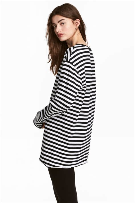 H M Jersey Comfortable oversized jersey top black white striped h m us