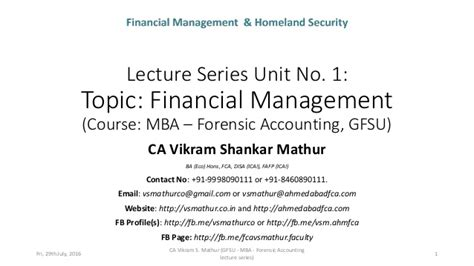 Mba Forensic Accounting Degree by Unit 1 Financial Management Gfsu Mba Forensic Accounting
