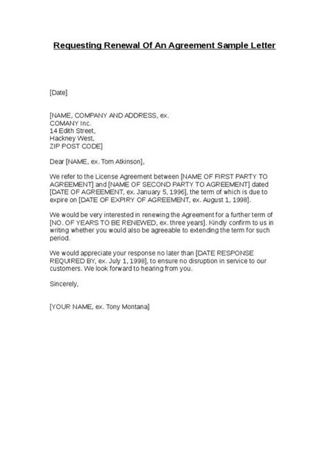 Letter Of Agreement Not contract renewal request letter template cover letter