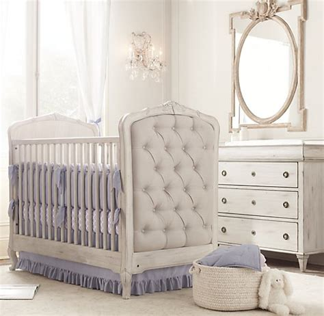 Colette Tufted Crib Antique Grey Mist Tufted Baby Crib