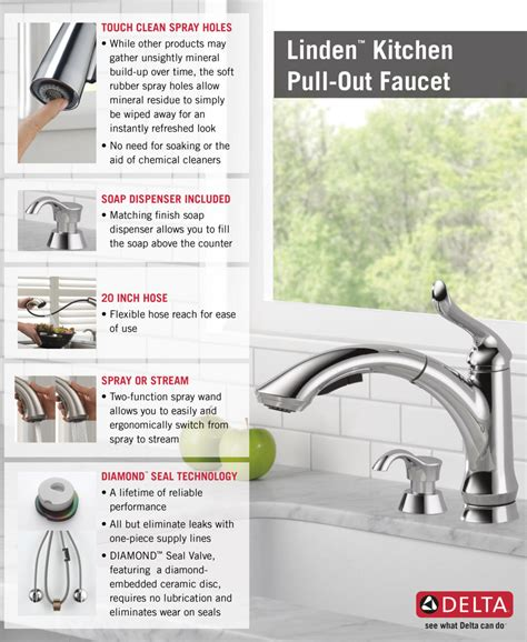 shop delta linden chrome pull out kitchen faucet at lowes com delta linden single handle pull out sprayer kitchen faucet