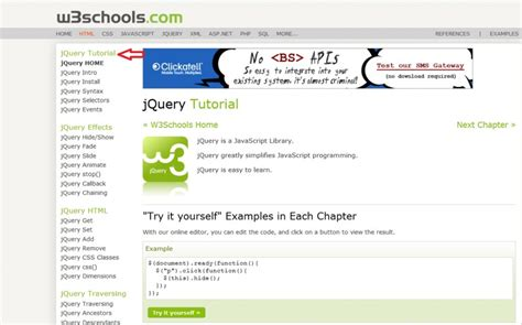 jquery tutorial in w3schools how to learn jquery for free