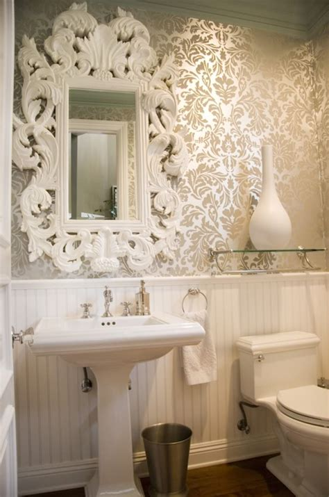 Bathroom Wallpaper White Baroque Mirror Bathroom Maison Luxe Home