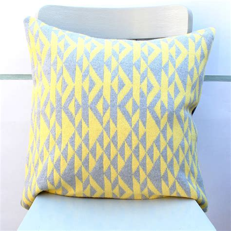 Grey and yellow pelt knitted cushion by gabrielle vary knitwear notonthehighstreet com