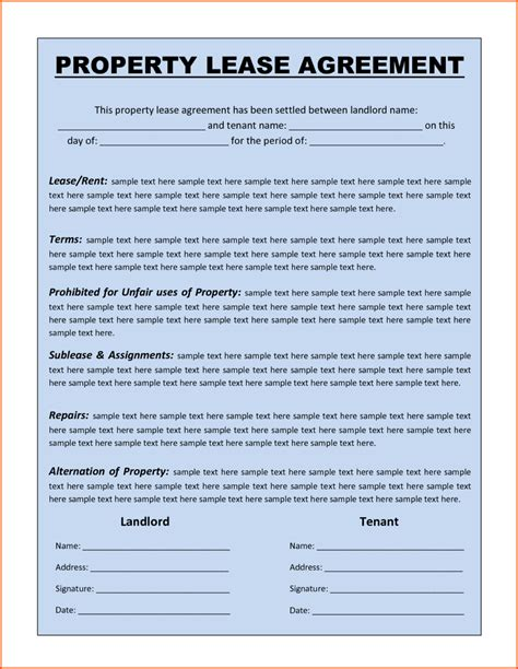 free printable rental house agreement premium property lease agreement template sle by
