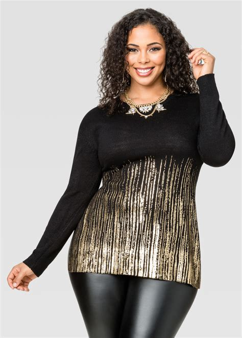 Foil Tunic foil border tunic sweater plus size sweaters stewart