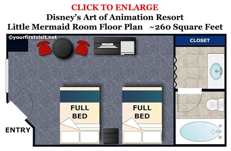 art of animation family suite floor plan photo tour of standard little mermaid rooms at disney s