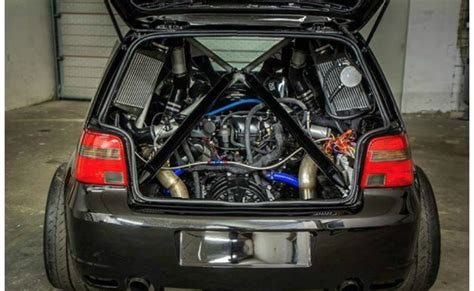 lamborghini engine swap crazy vw golf packs a twin turbo lamborghini v10 engine